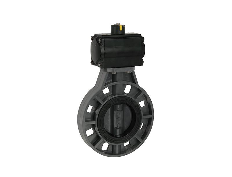 válvula de mariposa del actuador neumático del upvc